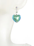 Murano Glass Light Aqua Heart Silver Earrings, Venetian Jewelry JKC Murano