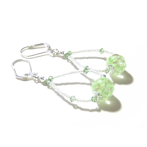 Murano Glass Green Ball Sterling Silver Earrings, Hoop Earrings JKC Murano