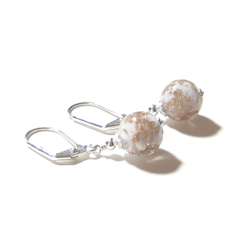 Murano Glass Pale Pink Copper Ball Silver Earrings