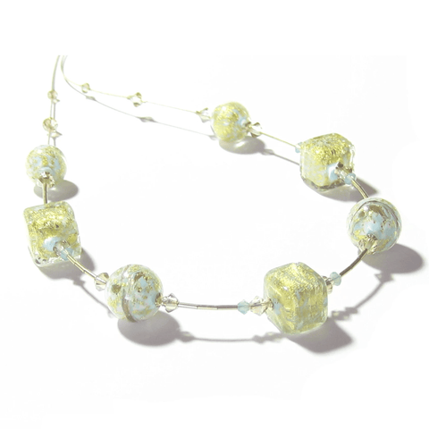 Murano Glass Aquamarine Cube Gold Necklace by JKC Murano - JKC Murano