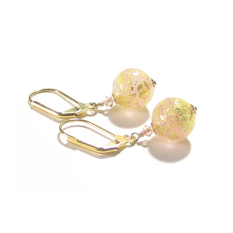 Italian Murano Glass Peach Cadora Gold Earrings, Gold Filled Leverbacks JKC Murano