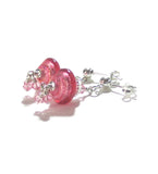 Murano Glass Pink Cluster Sterling Silver Earrings JKC Murano