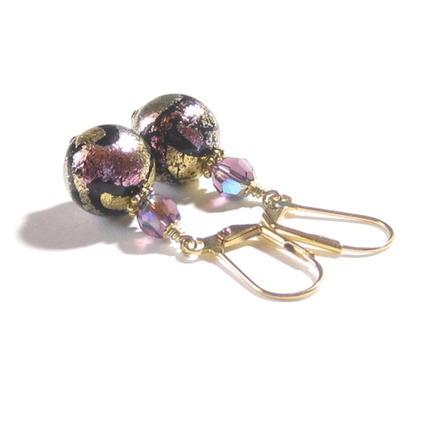 Murano Glass Pink Black Dichroic Ball Gold Earrings JKC Murano