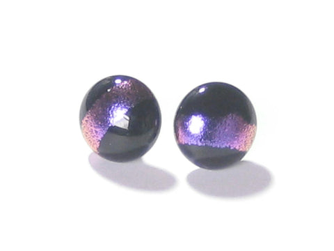 Murano Glass Black Pink Dichroic Button Earrings, Sterling Silver Stud Earrings - JKC Murano