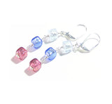 Murano Glass Pink Blue Aquamarine Cube Dangle Sterling Silver Earrings JKC Murano