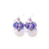 Murano Blown Glass Cobalt Blue Pink Stripes Cipollina Earrings - JKC Murano