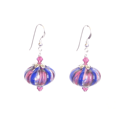 Murano Blown Glass Cobalt Blue Pink Stripes Cipollina Earrings