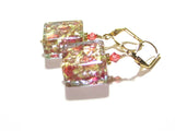 Murano Glass Chunky Pink Square Gold Earrings JKC Murano