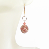 Murano Glass Pink Copper Ball Gold Earrings JKC Murano