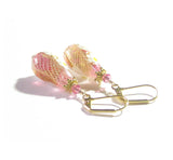 Murano Glass Daisy Pink Teardrop Gold Earrings, Leverbacks - JKC Murano
