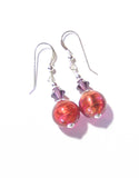 Murano glass pink ball sterling silver earrings, Fishhook Earrings JKC Murano