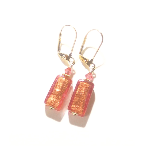 Murano Glass Pink Salmon Rectangle Gold Earrings by JKC Murano