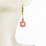 Murano Glass Salmon Pink Cube Gold Earrings, Leverback Earrings