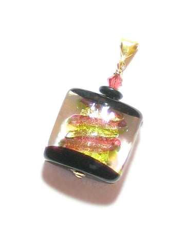 Murano glass pink green window square pendant - JKC Murano