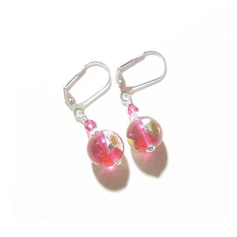 Murano Glass Pink Gold Copper 10mm Ball Silver Earrings