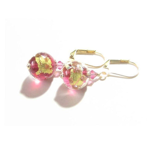 Murano Glass Pink Copper Silver Ball Gold Earrings