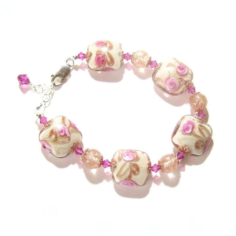 Murano Glass Pink Rose Cream Copper Square Silver Bracelet