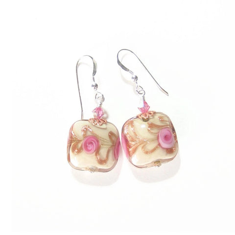 Murano Glass Pink Roses Cream Copper Square Silver Earrings - JKC Murano