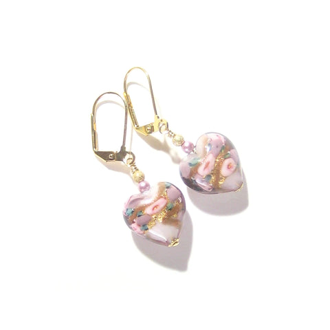 Murano Glass Pink Roses Heart Gold Earrings, Leverback Earrings JKC Murano
