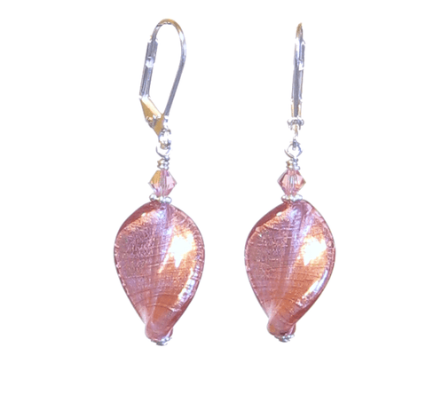 Murano Glass Pink Twist Sterling Silver Earrings JKC Murano