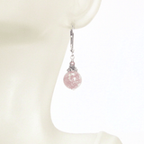 Murano Glass Pink Ball Sterling Silver Earrings