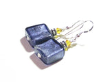 Murano Glass Plum and Yellow Square Silver Earrings JKC Murano