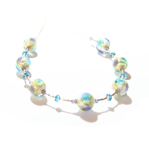 Murano Glass Plum Aqua Ball Gold Necklace By JKC Murano