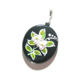 Murano Glass Porcelain Flower Black Pendant Necklace - JKC Murano