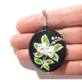 Murano Glass Porcelain Flower Black Pendant Necklace JKC Murano