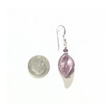 Murano Venetian Glass Purple Twist Silver Earrings - JKC Murano