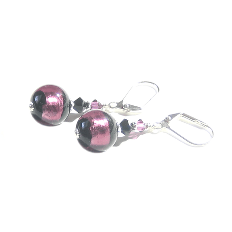 Murano Glass Black Purple Stripe Ball Sterling Silver Earrings - JKC Murano