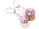 Murano Glass Purple Flower Disc Sterling Silver Earrings JKC Murano