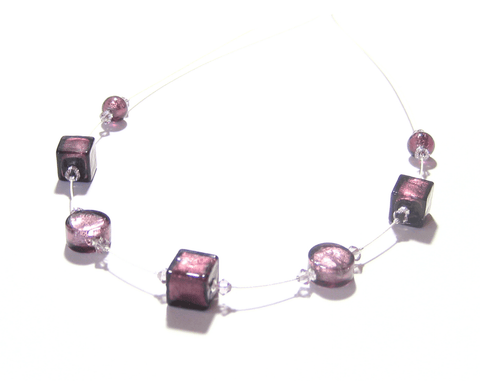Murano Glass Purple Cube Illusion Sterling Silver Necklace JKC Murano