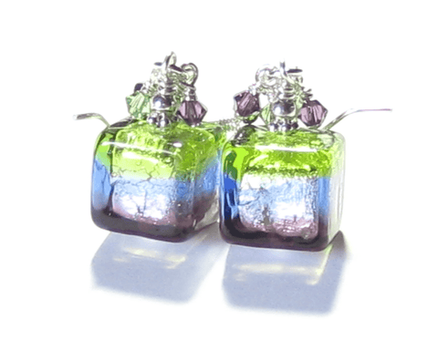 Murano Glass Green Blue Purple Cube Sterling Silver Earrings JKC Murano