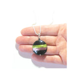 Murano Glass Purple Green Striped Black Pendant, Italian Sterling Silver Chain - JKC Murano