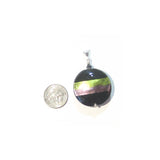 Murano Glass Purple Green Striped Black Pendant, Italian Sterling Silver Chain JKC Murano