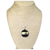 Murano Glass Purple Green Striped Black Pendant, Italian Sterling Silver Chain