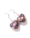 Murano Glass Purple Heart Rose Sterling Silver Earrings JKC Murano