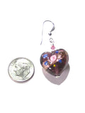 Murano Glass Purple Heart Rose Sterling Silver Earrings - JKC Murano