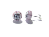 Purple Murano Millefiori Sterling Post Earrings, Stud JKC Murano