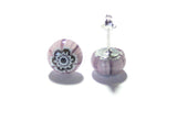 Purple Murano Millefiori Sterling Post Earrings, Stud - JKC Murano