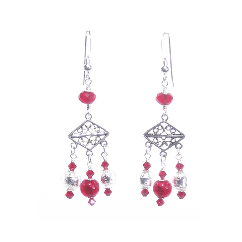 Murano Glass Red Chandelier Sterling Silver Earrings JKC Murano
