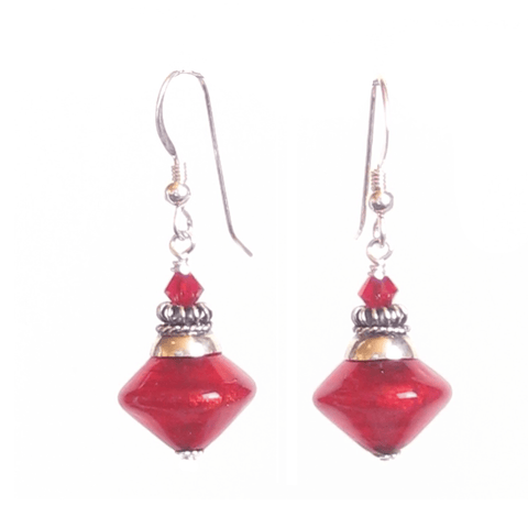Murano Glass Red Bicone Sterling Silver Earrings, Venetian Jewelry JKC Murano