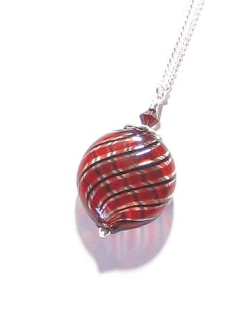 Murano Blown Glass Red Black Disc Pendant Necklace JKC Murano