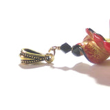 Large Murano Glass Black Red Twist Gold Pendant JKC Murano
