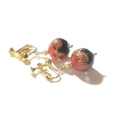 Murano Glass Black Red Gold Earrings - JKC Murano