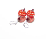 Murano Mouth Blown Glass Red Earrings JKC Murano