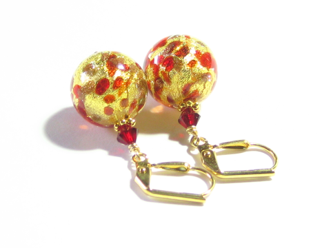 Murano Glass Red Copper Ball Gold Earrings, Gold Leverback Earrings - JKC Murano - 1