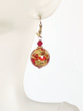Murano Glass Red Copper Ball Gold Earrings, Gold Leverback Earrings JKC Murano