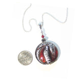 Murano Glass Red Silver Disc Pendant, Sterling Silver Italian Made Chain JKC Murano